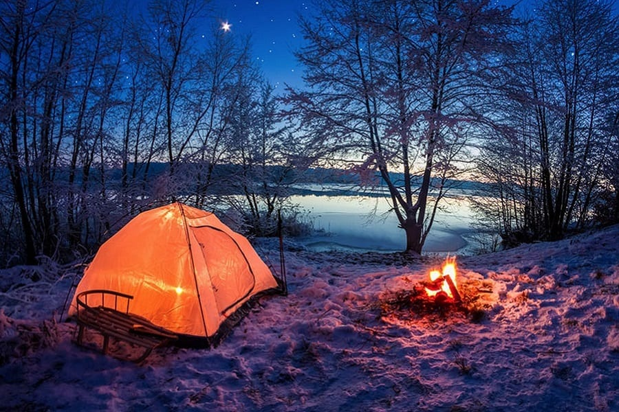 Tent in Winter Forest