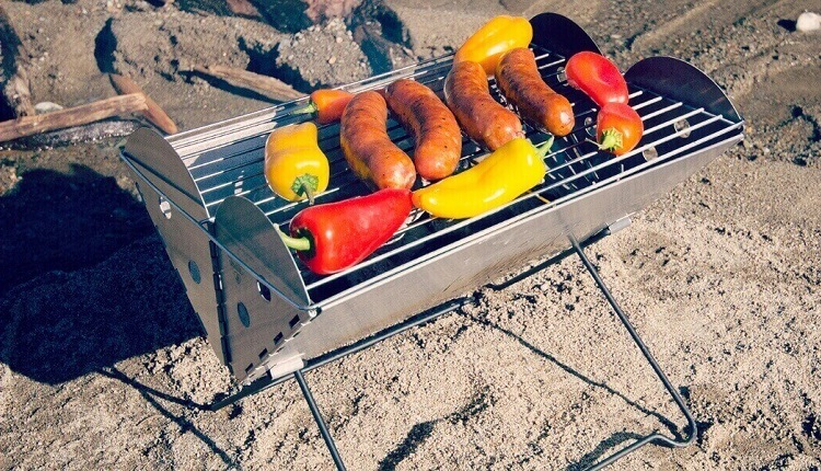 camping grill with food