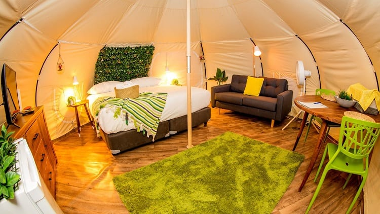 glaming tent interior