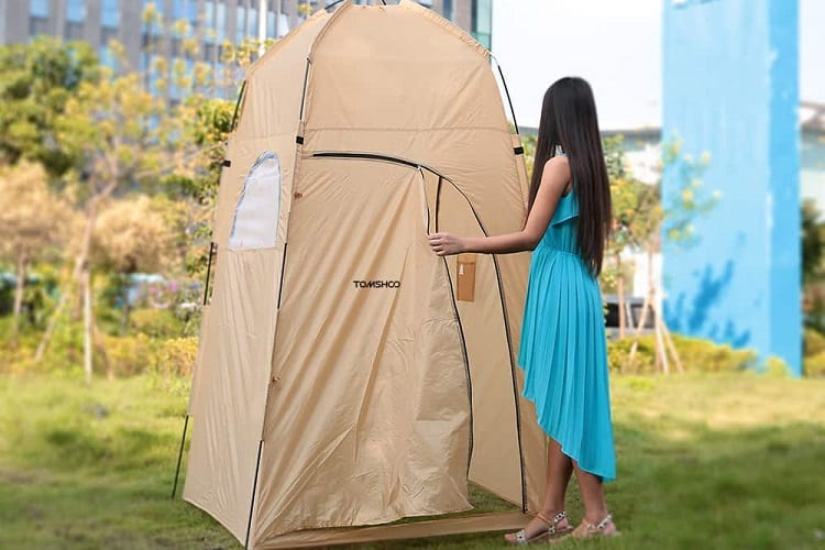 using a shower tent