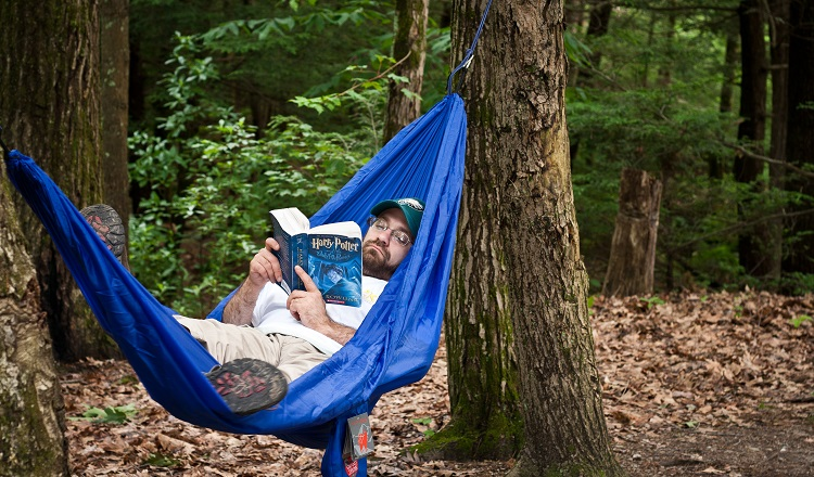 reading on a hammock