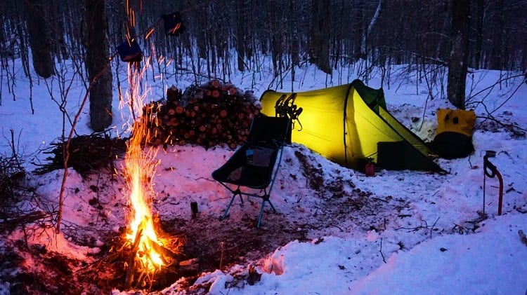 camping fire in winter